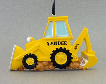 Bulldozer Personalized Ornament - Yellow Backhoe - Construction Worker - Hand Personalized Christmas Ornament