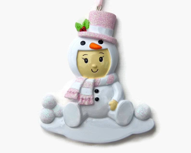 Baby/'s Second Christmas Hand Personalized Christmas Ornament Baby in a Snowman Costume Personalized Ornament Baby Girl
