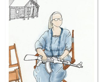"""Ltd Ed. Giclee Print of Original M. Cummins Watercolor: """"No Country for Old Women"""""""