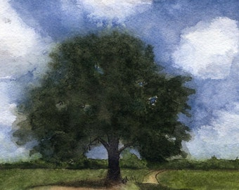"Ltd Ed. 6"" X 8.4"" Giclee Print of Original M. Cummins Watercolor: ""Bur Oak"""