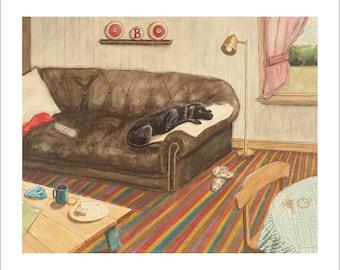 "Ltd Ed. Giclee Print of ""Missing Betty,"" Original M. Cummins Watercolor"