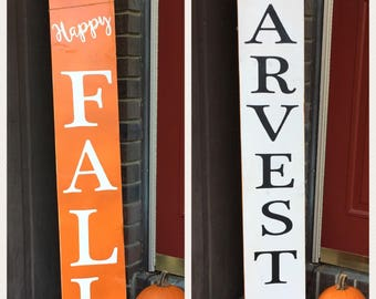 """Handpainted wooden """"Harvest"""" or """"Happy Fall"""" sign, porch decor, garden ornament, deck decor, spring decor, Father's Day gift, fall decor"""