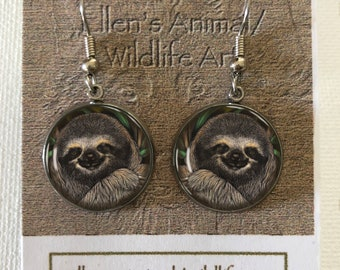 ca1256aba sloth earrings, jewelry, accessory, adornment, decoration, three toed,  wildlife, animal, zoo, nature, scratchboard art,