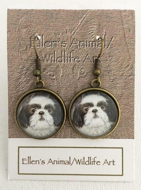 Shih Tzu Earrings Shih Tzu Jewelry Adorable Pup Earrings Etsy