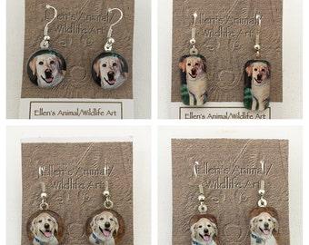 yellow labrador earrings, Golden Retriever earrings, lab jewelry, retriever earrings, pet jewelry, dog jewelry, animal earrings, pet lover