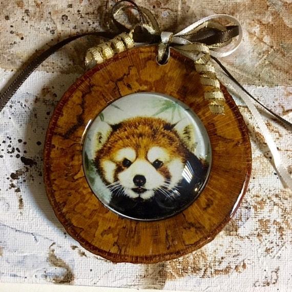 roter panda panda ornament rote panda kunst dekoration etsy. Black Bedroom Furniture Sets. Home Design Ideas