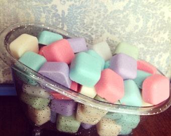 Sugar Scrub Soap Cubes~  50 cubes 1 scent & 1 color. You Pick Color: cheap favors, wholesale, bridal, baby shower, wedding, soap favor. Bulk