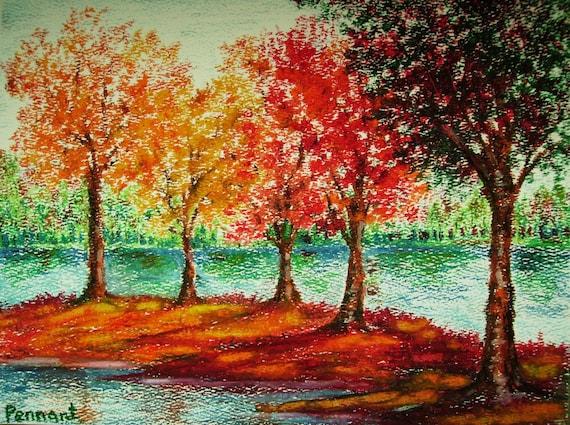 Autumn Landscape Small Drawing Original Oil Pastel Art