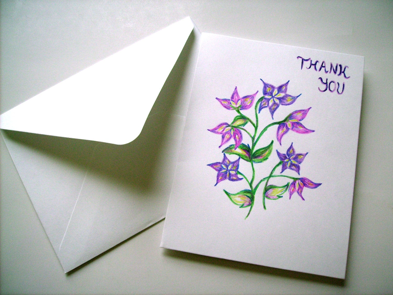 Hand Drawn Thank You Card Blank Card Greeting Card Floral Etsy