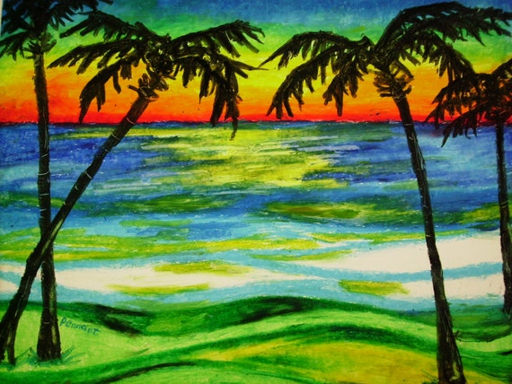 Palms At Sunset 14x17 Beach Landscape Oil Pastel Drawing On Etsy