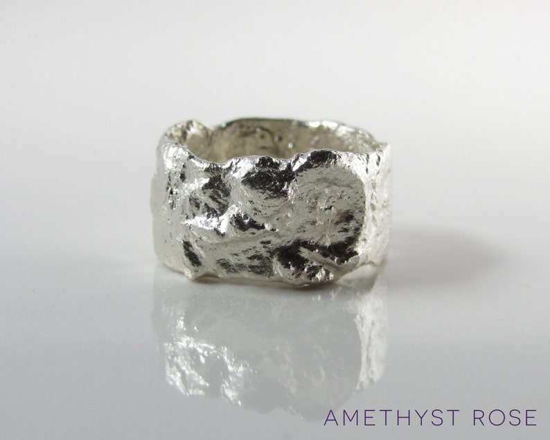 Fused Sterling Silver Ring  Organic Textured Wide Ring Band  image 0