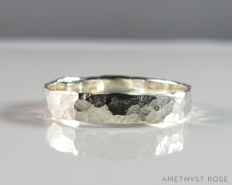 Sterling Silver Hammered Ring  Handmade with an antique image 0