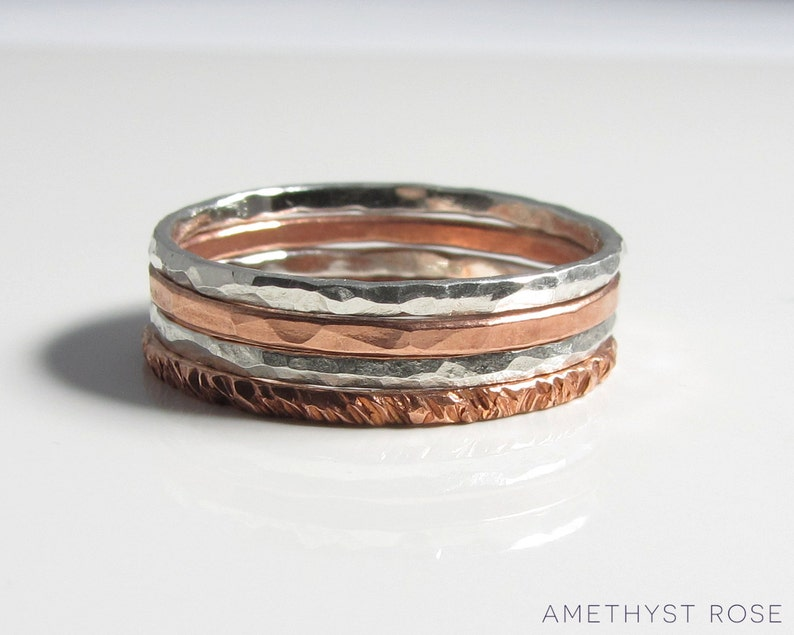 Stacking Rings  Thin Sterling Silver or Copper Rings each image 0