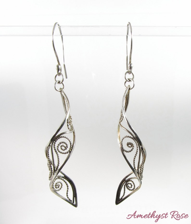 Silver Lace  Sterling Silver Filigree Earrings image 0