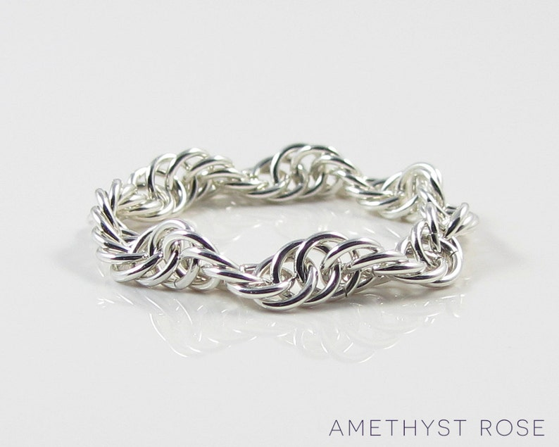 Woven wave  Sterling Silver Chain Maille Ring  Flexible Ring image 0