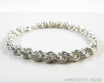 Silver Rope Bracelet ~ Sterling Silver Chain Maille Bracelet ~ Chainmail Jewellery ~ Spiral Bracelet