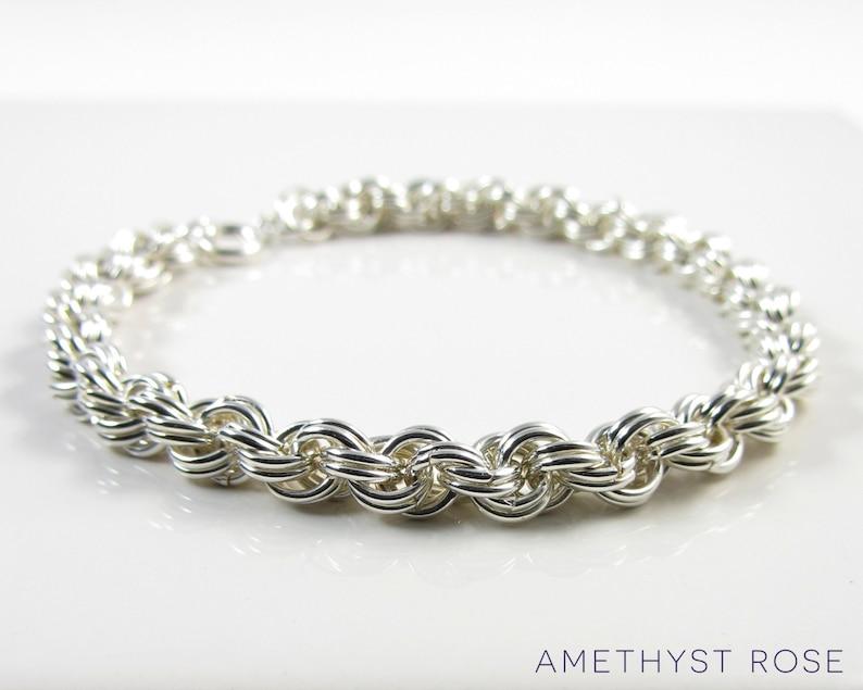 Silver Rope Bracelet  Sterling Silver Chain Maille Bracelet  image 0
