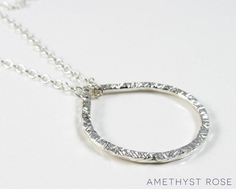 Hammered Teardrop Pendant  Sterling Silver Pendant Necklace  image 0