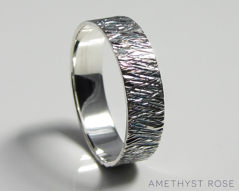 Sterling Silver Hammered Patina Ring  Handmade Textured Ring image 0