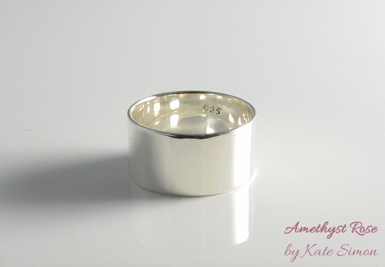 Silver Mirror  Wide Ring in Sterling Silver 925  Statement image 0