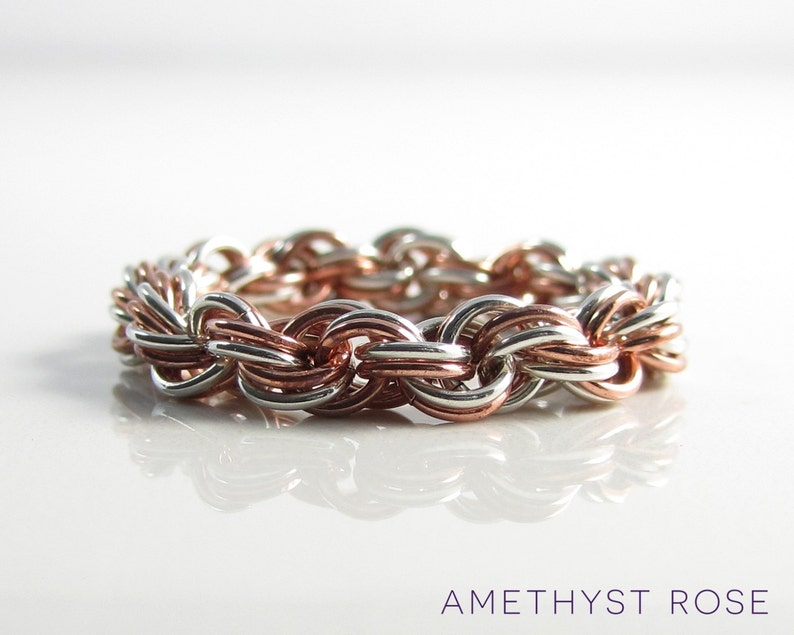 Double Spiral  Sterling Silver & Copper Chainmail Ring  image 0