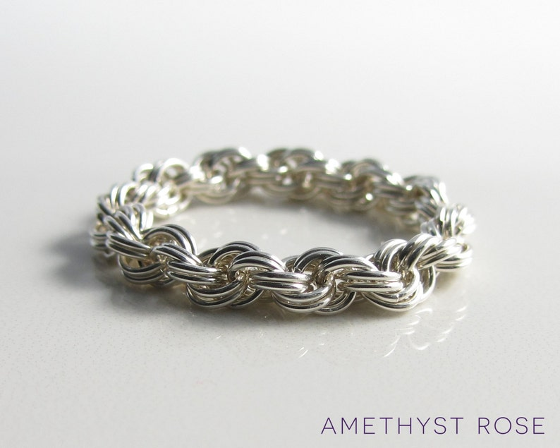 Silver Rope Ring  Sterling Silver Chain Maille Ring  image 0