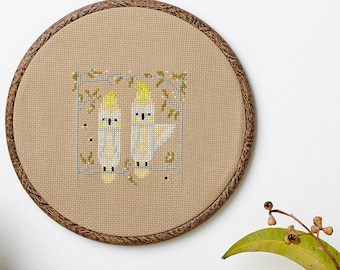 Squawkers modern cross stitch pattern PDF download - includes chart and instructions - Australian cockatoo theme