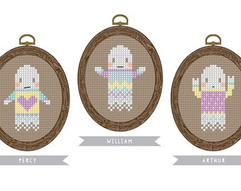 Cool Ghouls - mini ghost trio cross stitch pattern - three easy modern patterns to download instantly - great for beginners cross stitch