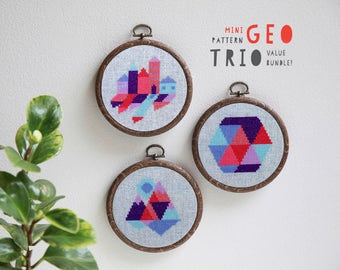 Three modern cross stitch pattern PDF downloads - easy geometric patterns to download instantly- great for beginners cross stitch