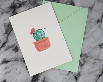 Tiny Cactus Blank Greeting Card (A7) With Envelope