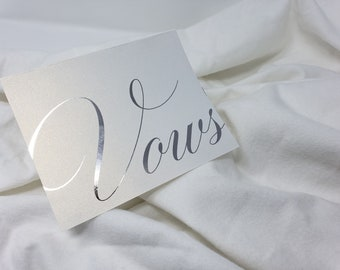 2 Pearlescent Foil Stamped Vow Letters
