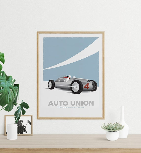 Vintage Racing Poster - Auto Union Type-D Grand Prix Wagen - Digital Download