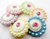 Mixed Set of 6 Floral Vintage inspired Edible Sugar cupcake or cookie toppers in MIXED PASTELS - Royal icing wedding
