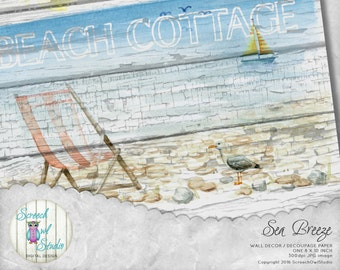 Beach Cottage, Wall Decor, Collage Paper, Scrap Booking Paper, Card MakingPaper Craft Supplies, Printable Images