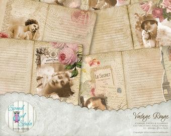 "Vintage Journal Pages 5"" x 7"", Junk Journal, Roses, Paper Craft Supplies, Printable Stationery, Scrapbooking  - 'Vintage Rouge 1#'"