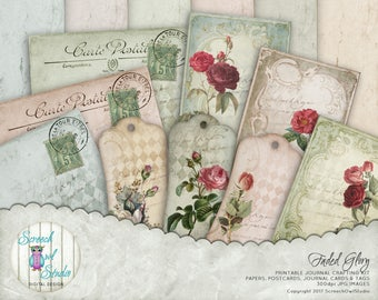 Journal Ephemera, Journal Design Kit, Journaling, Paper Craft Supplies, Junk Journal, Digital Paper, Instant Download - 'Faded Glory'