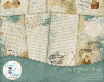 """Travelers Notebook 4.33"""" x 8.25"""", Midori TN, TN Inserts, Journal Pages,  Junk Journal, Paper Craft Supplies - Tea, Coffee and Chocolate"""