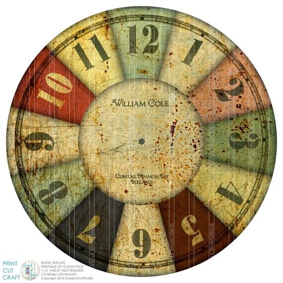 Orologio, orologio in metallo rustico viso, Craft Supplies, Decoupage,  Download immediato, quadrante orologio stampabile