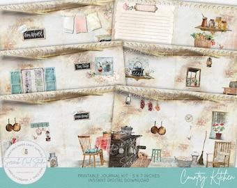 Country Kitchen DIY Journal Kit, Junk Journal Pages and Ephemera, Farm Kitchen Theme, Paper Craft Supplies, Instant Digital Download