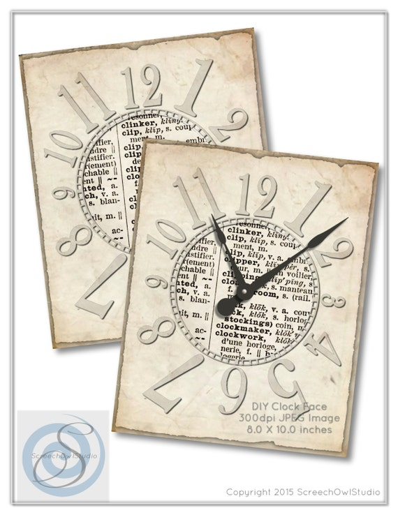 printable clock face dictionary paper clock face craft etsy