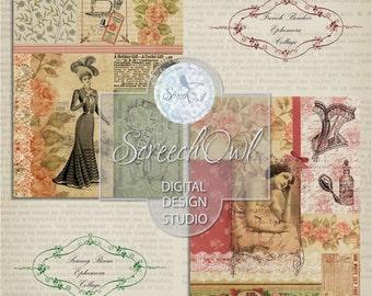 Vintage Decoupage Paper, Ephemera Collage, Scrapbooking Paper, Card Making, Decoupage, Paper Craft Supplies, Printable Images,