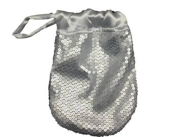 Matte Silver Sequins WRISTLET