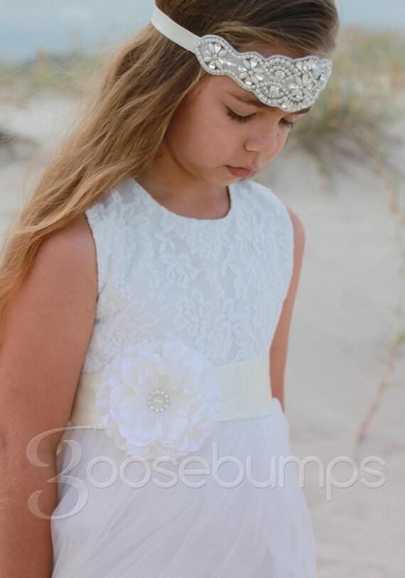 e0d931199 Audrey Tulle White Dress Bridal Flower Girl Communion Wedding