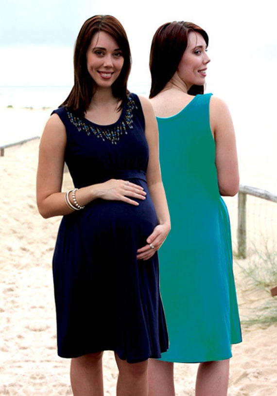 Maeva Breastfeeding Dress Navy and Green Nursing Dress Pregnancy Dress Baby  Shower Plus size Clothing Maternity Summer Fashion