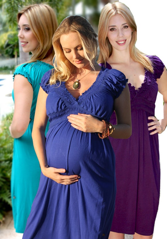 Rose Breastfeeding Dress Purple Nursing Dress - Green Blue Dress Baby  Shower - Plus Size Cap Sleeves - Clothes Pregnancy