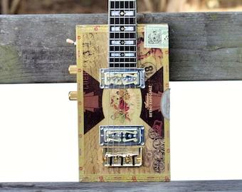6-String Cigar Box Guitar La Gloria Cubana box w/Dual Goild Forl Pickups by Rose Instruments