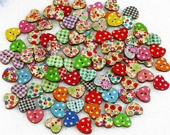 Multicoloured Small Heart Shaped  Buttons Ideal Embellishments for Sewing Scrap booking Card Making Projects