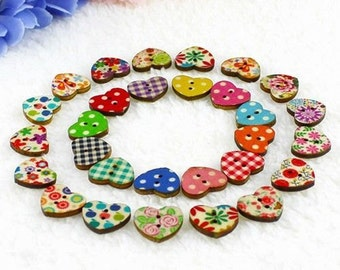 10/20/40/50/100 Multicoloured Small Heart Shaped 2 Hole Wooden Buttons 1.75x 1.5cm for Sewing Scrapbooking Card Making
