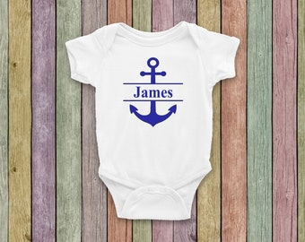 new to the crew onesie baby onesie with anchor sailing onesie Personalized boating baby onesie and matching hat personalized baby onesie
