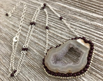 Purple & Silver Geode Necklace, Hand Beaded Necklace, Bohemian Jewelry, Natural Stone Jewelry, Druzy Jewelry, Pearls, Seed Bead Jewelry